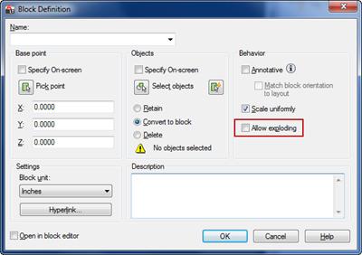 Block Definition dialog