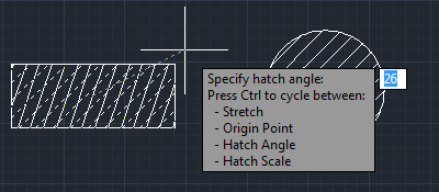 Direct manipulation of hatch object