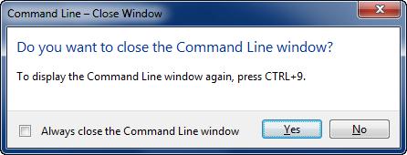 Command line dialog