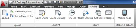 AutoCAD WS Online tab