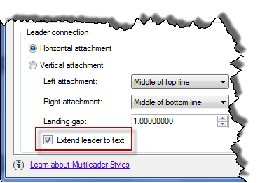 Extend leader to text
