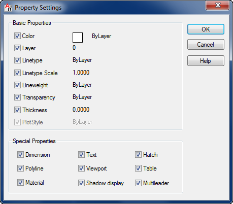 Match Property Settings